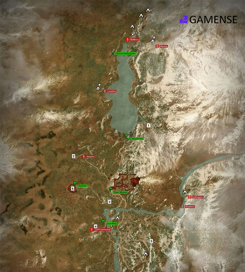 The Witcher 3 map of Kaer Morhen
