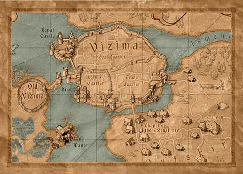 The Witcher 3 map of Vizima